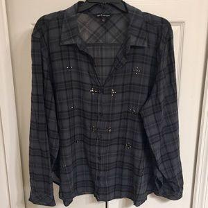 Rock & Republic Plaid Button Up Blouse Size: XL